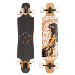 Apollo Twin-Tip Drop-Thru Longboard, Hinano Black & White, 99cm (39 inch) x 23,49cm (9,25inch) - 1