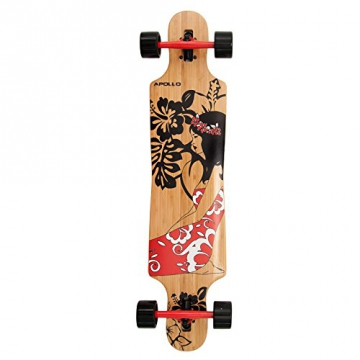Apollo Twin-Tip Drop-Thru Longboard, Hinano Red Flowers DT, 39 inch x 9,25 inch - 1