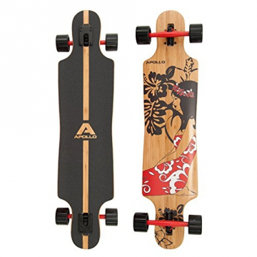 Apollo Twin-Tip Drop-Thru Longboard, Hinano Red Flowers DT, 39 inch x 9,25 inch