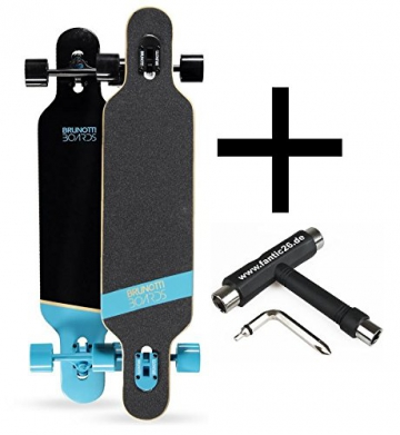 Brunotti Bob Longboard Twin Tip drop through Blue + Fantic26 Skatetool - 1