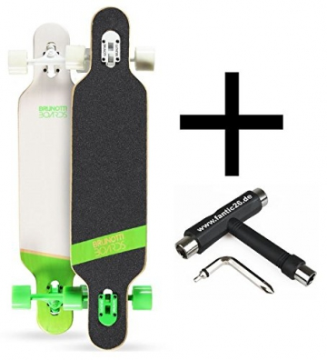 Brunotti Bob Longboard Twin Tip drop through Green + Fantic26 Skatetool - 1