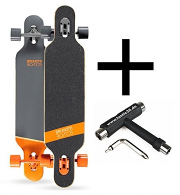 Brunotti Bob Longboard Twin Tip drop through Orange + Fantic26 Skatetool - 1