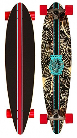 Nijdam Longboard Pintail Jungle Stripes, Anthrazit Rot Blau, 39 zoll, 1020488 - 1