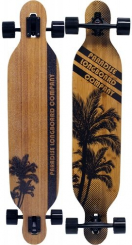 Paradise Brown Palms Drop Through Bamboo Komplett Longboard - 1