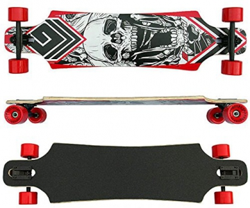 Racing Longboard rot Totenkopf 40 INCH Drop Through ABEC-9 Lager Big Wheels 76x52mm - 1