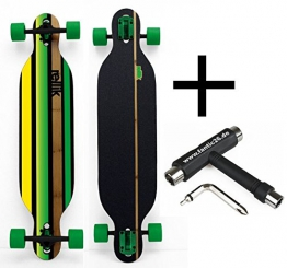 "Rellik Longboard Green Straightline drop-through 38""x8,5"" + Fantic26 Skatetool - 1"