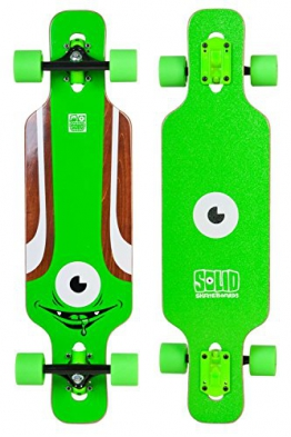 SOLID Eye Kid Kinder Mini Cruiser drop through twin tip Longboard Grün - 1