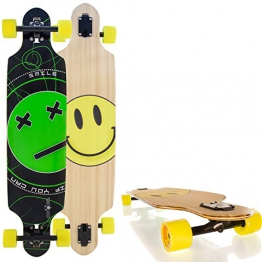 "Streetdevil 100% Bambus Allround Dropthrough Longboard/Skateboard ""Smiley"" 103,5cm - 1"